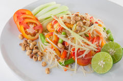 Som Tum Thai Isan Spicy Food. Closeup Thai papaya salad serve with vegetables. Closeup Thai papaya salad serve with vegetables Royalty Free Stock Photos