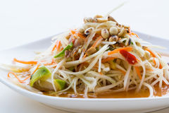 Thai spicy papaya salad (Som - Tum). Papaya salad is a favorite Thai food, very sour and spicy in Thailand was called Som-Tum stock photography