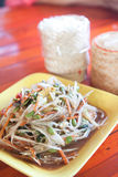Som tum, Thai papaya salad hot and spicy. With sticky rice stock photography