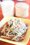 Som tum, Thai papaya salad hot and spicy. With sticky rice stock photo