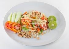 Som Tum, Thai papaya salad serve with vegetables Royalty Free Stock Photo