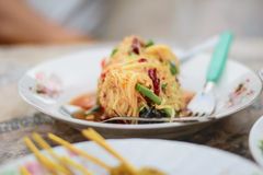 Som Tum Thai papaya salad. Traditional Thai food royalty free stock photos