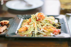 Som Tum Thai papaya salad. Traditional Thai food stock photos