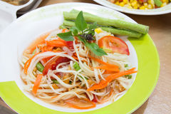 Som tum, thai papaya salad. Thai papaya salad or Som Tum, traditional and modern thai food stock photo