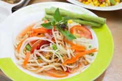 Som tum, thai papaya salad. Thai papaya salad or Som Tum, traditional and modern thai food Stock Photo