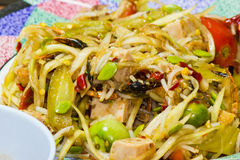 Som Tum, Thai papaya salad. Traditional Thai food.  Stock Photo