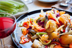 Som Tum, Thai papaya salad. Traditional Thai food.  stock photos