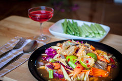 Som Tum, Thai papaya salad. Traditional Thai food Stock Photos