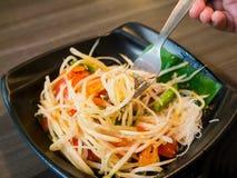 Som tum Thai. Spicy Papaya Salad Royalty Free Stock Photo
