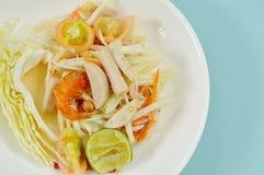 Som tum Thai spicy green papaya topping slice Vietnamese sausage salad on plate. Som tum Thai spicy green papaya topping slice Vietnamese sausage salad on white royalty free stock image