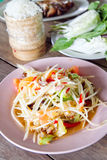 Som Tum, Thai spicy salad. Thai spicy papaya salad with fresh vegetable and sticky rice stock images