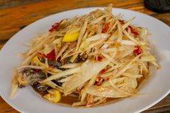 Som Tum - Thai Style with crab meat. At thailand Stock Photos
