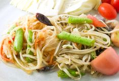 Som Tum or Thai Traditional Green Papaya Salad Royalty Free Stock Photos