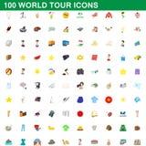 100 som världen turnerar symboler, ställde in, tecknad filmstil Arkivfoto