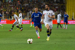 Soma Charity Tournament. ISTANBUL – AUGUST 08: Chelsea is attacking to Fenerbahce in Soma Charity Tournament in Sukru Saracoglu Stadium Royalty Free Stock Image