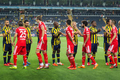 Soma Charity Tournament. ISTANBUL – AUGUST 08: Fenerbahce and Besiktas football teams before Fenerbahce Besiktas match in Soma Charity Tournament in Sukru Royalty Free Stock Images