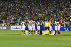 Soma Charity Tournament. ISTANBUL – AUGUST 08: Fenerbahce and Chelsea players before match in Soma Charity Tournament in Sukru Saracoglu Stadium Stock Images