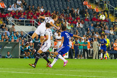 Soma Charity Tournament. ISTANBUL - AUGUST 08, 2014: Chelsea is attacking to Besiktas in Soma Charity Tournament in Sukru Saracoglu Stadium Royalty Free Stock Photos