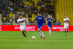 Soma Charity Tournament. ISTANBUL - AUGUST 08, 2014: Chelsea is attacking to Besiktas in Soma Charity Tournament in Sukru Saracoglu Stadium Stock Image