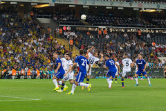 Soma Charity Tournament. ISTANBUL - AUGUST 08, 2014: Chelsea is attacking to Fenerbahce in Soma Charity Tournament in Sukru Saracoglu Stadium Royalty Free Stock Images