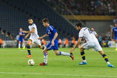 Soma Charity Tournament. ISTANBUL - AUGUST 08, 2014: Chelsea is attacking to Fenerbahce in Soma Charity Tournament in Sukru Saracoglu Stadium Stock Image