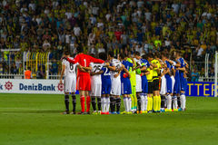 Soma Charity Tournament. ISTANBUL - AUGUST 08, 2014: Chelsea and Besiktas football teams in Soma Charity Tournament in Sukru Saracoglu Stadium Stock Images