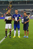 Soma Charity Tournament. ISTANBUL - AUGUST 08, 2014: Chelsea, Fenerbahce and Besiktas captains during award ceremony of Soma Charity Tournament in Sukru Stock Photo