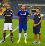 Soma Charity Tournament. ISTANBUL - AUGUST 08, 2014: Chelsea, Fenerbahce and Besiktas captains during award ceremony of Soma Charity Tournament in Sukru Stock Image