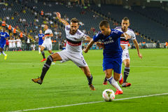 Soma Charity Tournament. ISTANBUL - AUGUST 08, 2014: Chelsea player Eden Hazard is attacking to Besiktas in Soma Charity Tournament in Sukru Saracoglu Stadium Stock Photos