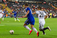Soma Charity Tournament. ISTANBUL - AUGUST 08, 2014: Chelsea player Eden Hazard is attacking to Besiktas in Soma Charity Tournament in Sukru Saracoglu Stadium Stock Photography
