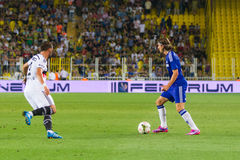 Soma Charity Tournament. ISTANBUL - AUGUST 08, 2014: Chelsea player Filipe Luis is attacking to Besiktas in Soma Charity Tournament in Sukru Saracoglu Stadium Royalty Free Stock Photos