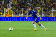 Soma Charity Tournament. ISTANBUL - AUGUST 08, 2014: Chelsea player Mohamed Salah is attacking to Besiktas in Soma Charity Tournament in Sukru Saracoglu Stadium Stock Image
