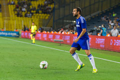 Soma Charity Tournament. ISTANBUL - AUGUST 08, 2014: Chelsea player Mohamed Salah is attacking to Besiktas in Soma Charity Tournament in Sukru Saracoglu Stadium Stock Photography