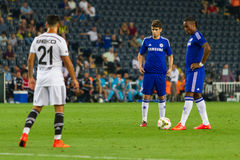 Soma Charity Tournament. ISTANBUL - AUGUST 08, 2014: Chelsea is using the free kick to Besiktas in Soma Charity Tournament in Sukru Saracoglu Stadium Royalty Free Stock Images