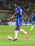 Soma Charity Tournament. ISTANBUL - AUGUST 08, 2014: Didier Drogba is attacking to Fenerbahce in Soma Charity Tournament in Sukru Saracoglu Stadium Stock Image