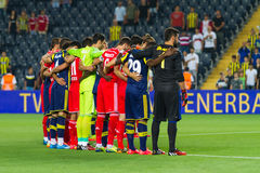 Soma Charity Tournament. ISTANBUL - AUGUST 08, 2014: Fenerbahce and Besiktas football teams before Fenerbahce vs Besiktas match in Soma Charity Tournament in Royalty Free Stock Images