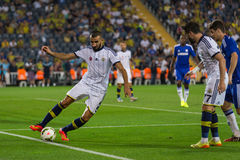 Soma Charity Tournament. ISTANBUL - AUGUST 08, 2014: Mehmet Topal is stop the ball going out in Fenerbahce vs Chelsea in Soma Charity Tournament in Sukru Stock Image