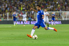Soma Charity Tournament. ISTANBUL - AUGUST 08, 2014: Mohamed Salah is attacking to Fenerbahce in Soma Charity Tournament in Sukru Saracoglu Stadium Stock Images