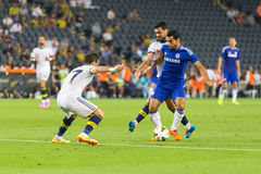 Soma Charity Tournament. ISTANBUL - AUGUST 08, 2014: Mohamed Salah is attacking to Fenerbahce in Soma Charity Tournament in Sukru Saracoglu Stadium Royalty Free Stock Photography