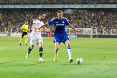 Soma Charity Tournament. ISTANBUL - AUGUST 08, 2014: Nemanja Matic is attacking to Fenerbahce in Soma Charity Tournament in Sukru Saracoglu Stadium Stock Photography
