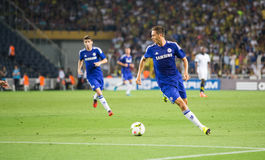 Soma Charity Tournament. ISTANBUL - AUGUST 08, 2014: Nemanja Matic is attacking to Fenerbahce in Soma Charity Tournament in Sukru Saracoglu Stadium Royalty Free Stock Photography