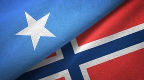Somalië en Noorwegen twee vlaggen textieldoek, stoffentextuur stock illustratie