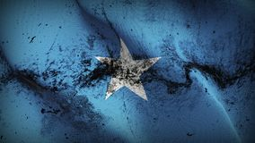 Somalia grunge dirty flag waving on wind. Somali background fullscreen grease flag blowing on wind. Realistic filth fabric texture on windy day Stock Photography