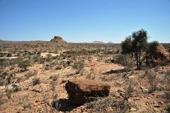 Somali ladscape. LAS GIL, SOMALIA - JANUARY 9, 2010:Complex of caves Las Gil with petroglyphs one of the monuments of ancient culture in Africa, its approximate Royalty Free Stock Photo