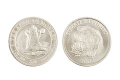 Somali Republic 10 dólares moeda de prata 2002 de 1 onça Foto de Stock Royalty Free