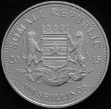 Somali Republic Silver Coin. On black background Royalty Free Stock Photos