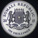 Somali Republic Silver Coin (2015 - Obverse). The Somali Republic Silver Coin (2015 - Obverse) was shot on a black background using axial lighting Stock Photo