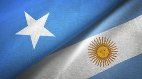 Somalia and Argentina two flags textile cloth, fabric texture. Somalia and Argentina flags together textile cloth, fabric texture vector illustration