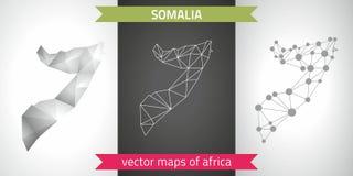Somalia collection of vector design modern maps, gray and black and silver dot contour mosaic 3d map. Set of Somalia polygonal mosaic modern maps Stock Photos