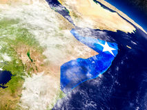 Somalia with embedded flag on Earth Stock Photo